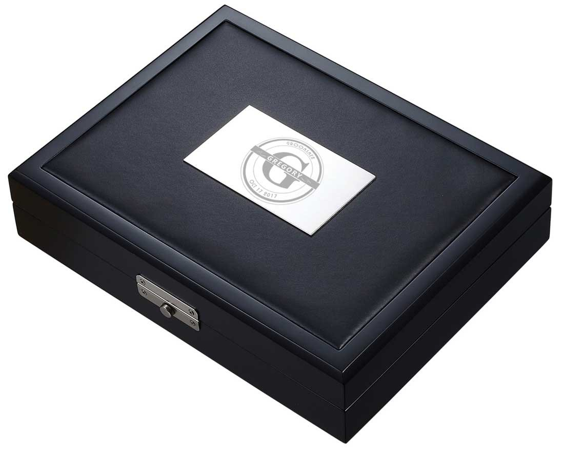 Personalized Groomsmen Visol Drako Black Travel Cigar Humidor - Holds 20 Cigars