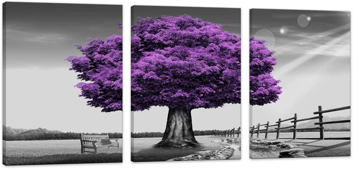 HUADAOART WSA0910 Canvas Prints Purple Tree Framed Canvas Wall Art for Home Decor Perfect 3 Panels Wall Purple Scenery Decorations for Living Room Bedroom Office Each Panel 12x16inch (Purple)