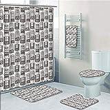 Bathroom 5 Piece Set shower curtain 3d print,Geometric,Apartment Building Urban Architecture European Windows City Town Illustration Decorative,Grey White,Bath Mat,Bathroom Carpet Rug,Non-Slip,Bath To