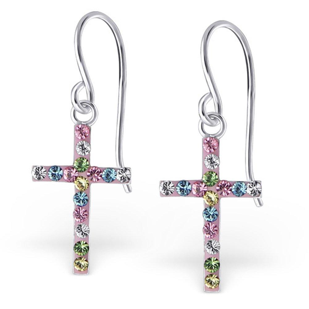 Multicolor Crystal Cross Earrings Dangle Earrings Sterling Silver 925 (E20036)