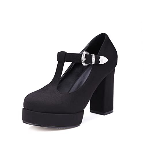 16a2d8b4103 Susanny Block High Heel Pump Women s Mary-Jane T-Strap Round Toe Faux Suede