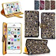 "iphone 6 6S Plus Case - Cellularvilla Pu Leather Wallet Diamond Design Sparkle Glitter Card Flip Open Pocket Case Cover Pouch For Apple iPhone 6 6S Plus 5.5"" inch (Gold Silver)"
