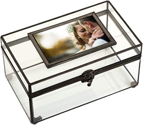 Grey Photo Box for 4x6 photos Wedding Memory Box in different colors