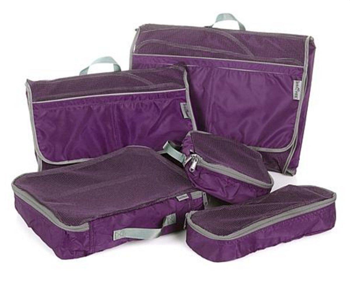 TravelSmith Smart Pack Organizers 5-piece Kit ~ Eggplant Purple