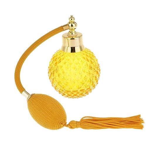 Accesorios Decorativos Botella Perfume Cristal Vidrio con Tubos Atomizador Aerosol Retornables - Amarillo: Amazon.es: Hogar