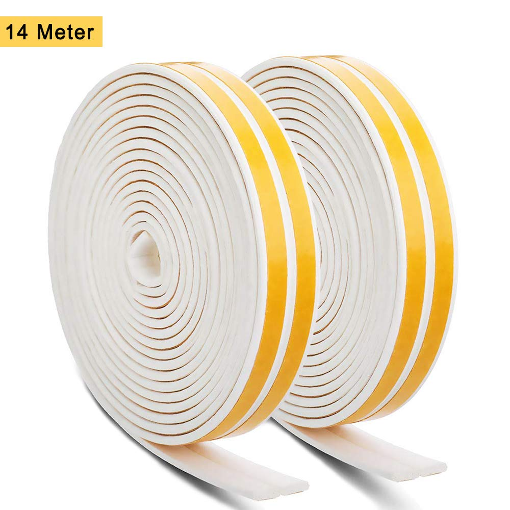 Rubber Seal Foam Tape Weather Strip, 14 Meters D Type Self Adhesive Rubber Door Window Draught Excluder Soundproofing Winter Avoidance Weatherstrip Tape (D Type, White) DazSpirit