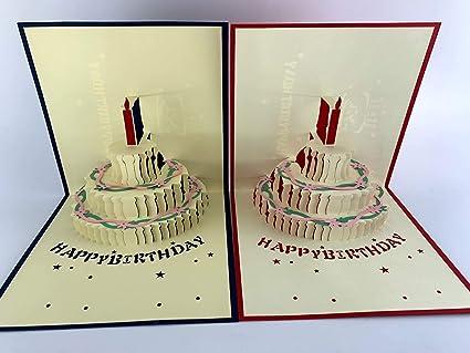 Amazon Kami 3D Pop Up Cake Birthday Card Lazer Cut And