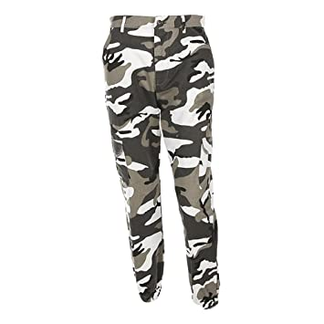 b1b5fc36faa9f Women Camouflage Trousers Loose Jeans Sports Camo Cargo Pants Army Cargo  Fatigues Denim Pants (Grey
