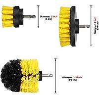 Brosse de Nettoyage Durable pour perceuse de Forage, kit de Fixation pour Brosse de Nettoyage en Nylon, pour Nettoyage de Carreaux de Piscine, marbre Jaune 3 PCS