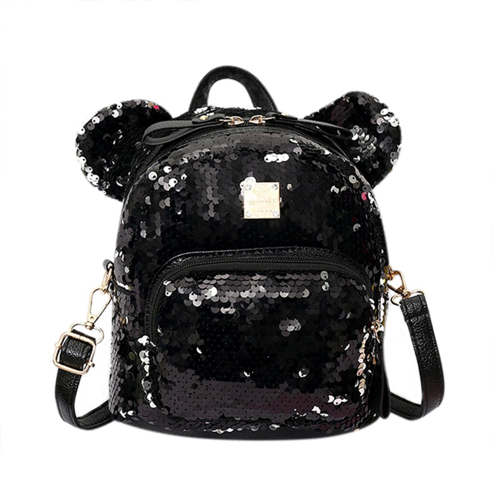 Women Girls Dazzling Sequins Backpack with Cute Ears Schoolbag Shoulder Bag Satchel