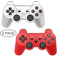 PS3 Controller 2 Pack Wireless Bluetooth 6-Axis Controllers Dualshock 3 Gamepad for PlayStation 3 (Silver+Red)