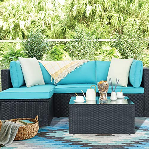 Waleaf Outdoor Furniture 5-Piece Rattan Sectional Patio Sofa Set with Washable Cushions, Outdoor Indoor Backyard Porch Garden Poolside Balcony Wicker Conversation Set with Glass Table (Blue)