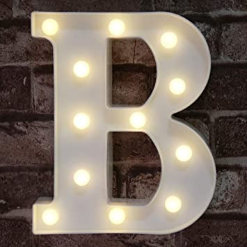 LED Marquee Letter Lights Sign, Light Up Alphabet Letter for Home Party Wedding Decoration B