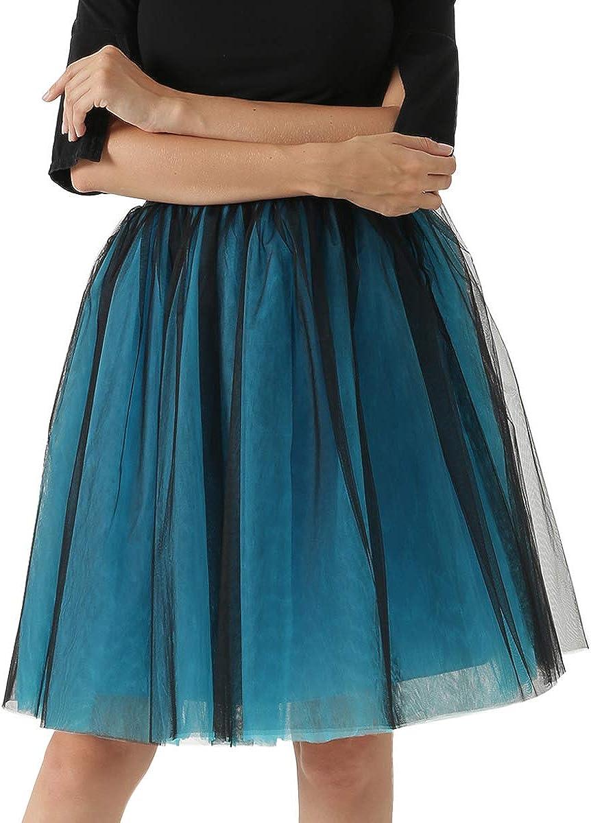 Happy Cherry - Falda de Tul para Mujer Cancan Enagua Faldas Princesas Vestido Ballet para Boda Noche Fiesta Disfraces Carnaval con Cintura Elástica