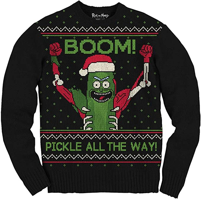 Ripple Junction Rick and Morty Boom Pickle Rick Adult Ugly Sweater