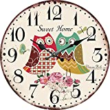 YOURNELO Kid's Room Silent Cartoon Wall Clock (Owl 2)