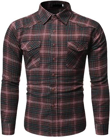 Mr.BaoLong&Miss.GO Otoño Camisa A Cuadros Casual para Hombres ...