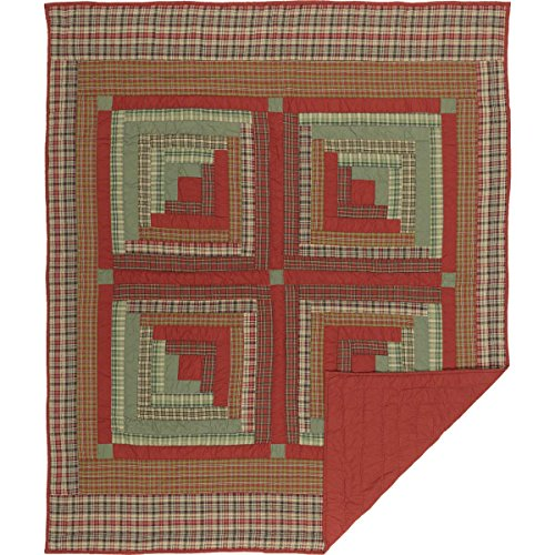 VHC Brands Seasonal Decor Gatlinburg Red Quilted Throw,