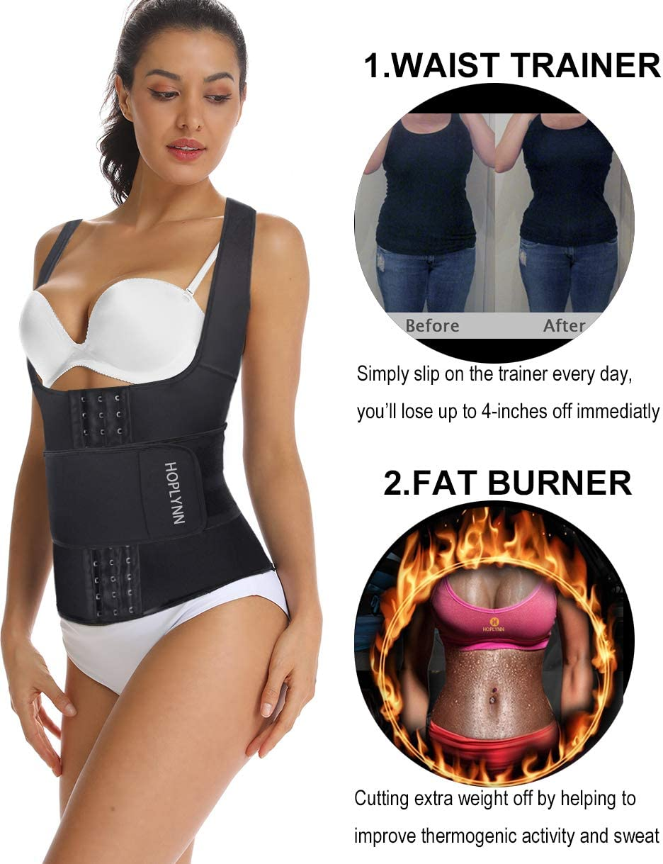 DUROFIT Sauna Vest Hot Neoprene Sweat Suit Slimming Shirt Waist Trainer Tank Top Fat Burner No Zipper for Weight Loss Workout Fitness Gym