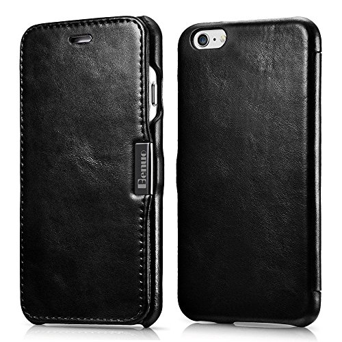 iPhone 6s / 6 Case, Benuo [Vintage Series] [Genuine Leather] Folio Flip Corrected Grain Leather Case [Ultra Slim] with Magnetic Closure for iPhone 6 / iPhone 6s 4.7 inch (Retro Black) (Leather Flip Case)