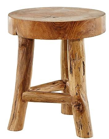 Dasmöbelwerk Baumstamm Teak Hocker Massiv Holz Sitzhocker