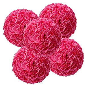 9.84 Inch Satin Flower Ball for Bridal Wedding Artificial Wedding Party Ceremony Decoration (5, Rose Red) 12