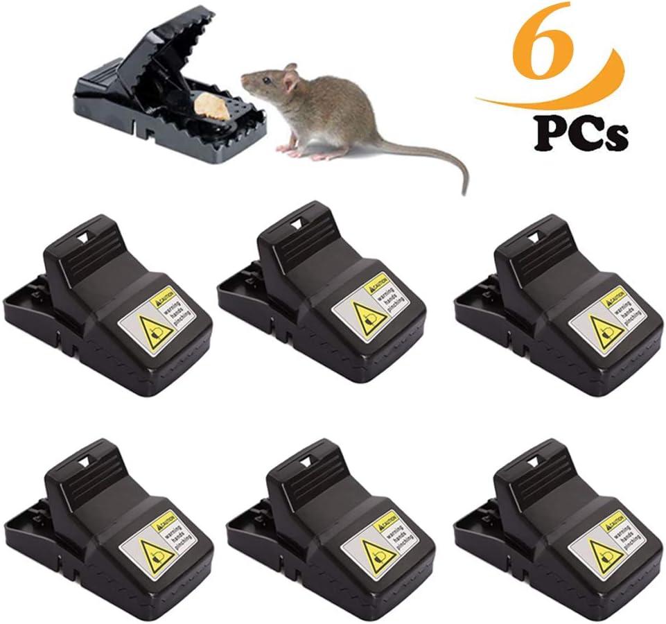 ZoneYan Trampa Ratones, Trampas para Ratas Reutilizable, Trampa De Ratón, Trampa Profesional para Ratas, Pack De 6, Negro