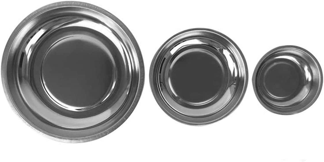 6 Circle Stainless Steel Magnetic Parts Bowl Tool Tray Nuts Bolts Screws Part Tray Magnetic Parts Plate Silver Silver