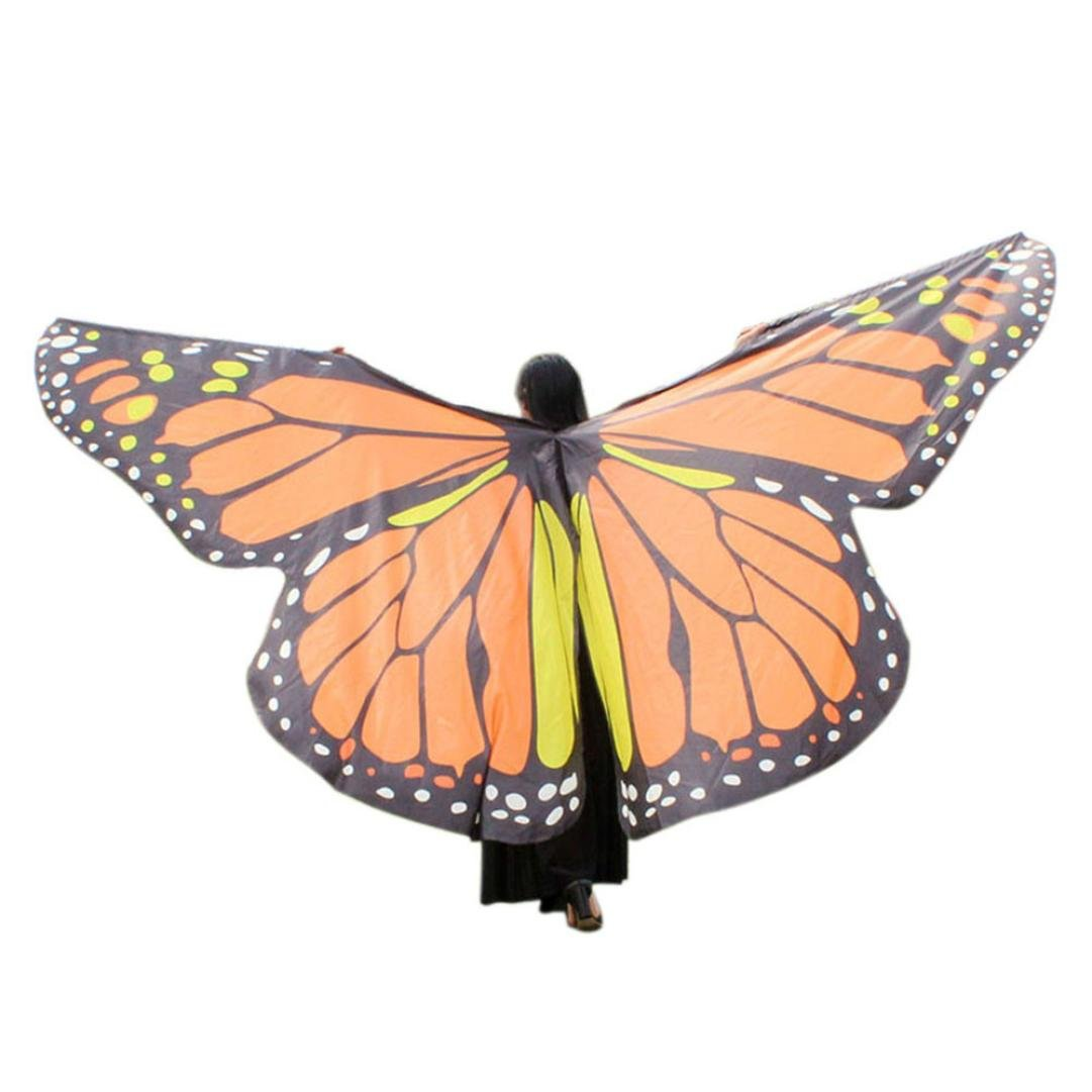 Goodtrade8 Large Butterfly Wings Adult Women Kids Toddler Girls Egypt Belly Dance Soft Shawl Scarves Ladies Costume Dress Accessory (Free Size, Yellow)