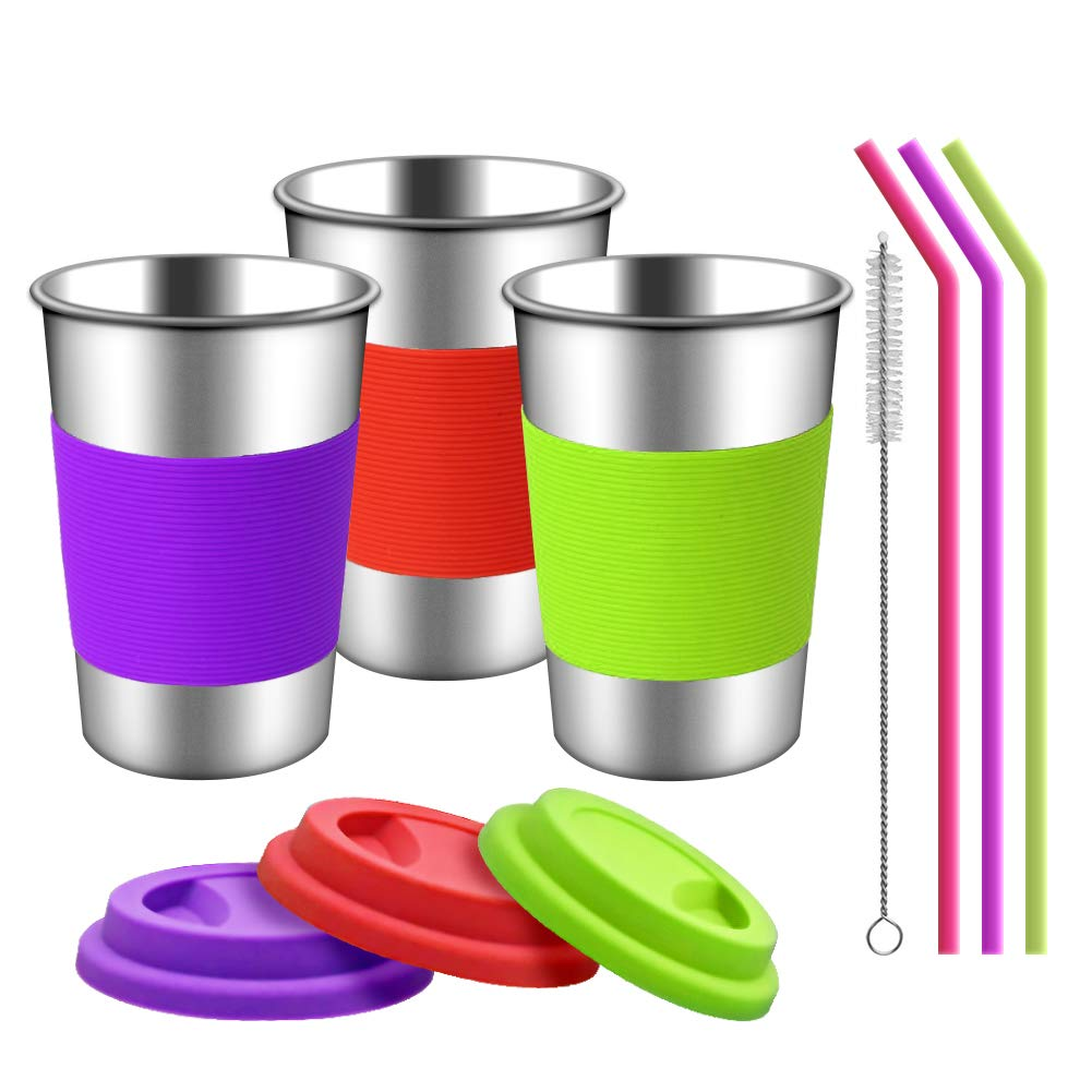 TOUGS Stainless Steel Cups Silicone Lids Sleeves Straws | 3 Pack 16 oz. Drinking Tumblers Cups Toddlers Kids Adults | Eco-Friendly | BPA-Free