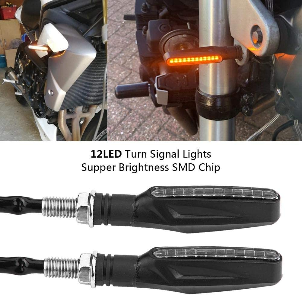 KIMISS Pair of Motorcycle Flowing Water Flexible Turn Signal LED Lights Indicator Lamp Universal