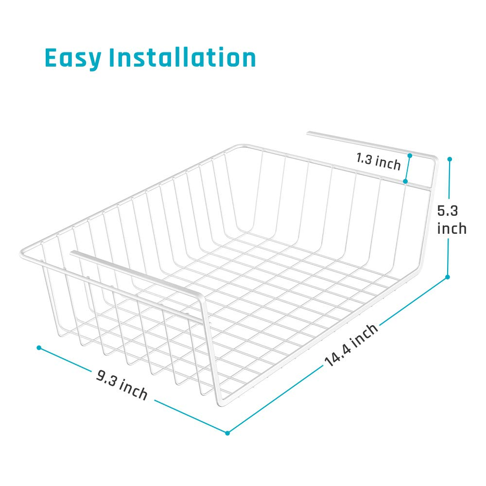 iSPECLE Under Shelf Basket, 4 Pack White Wire Rack, Slides Under Shelves for Storage, Easy to Install by iSPECLE (Image #3)