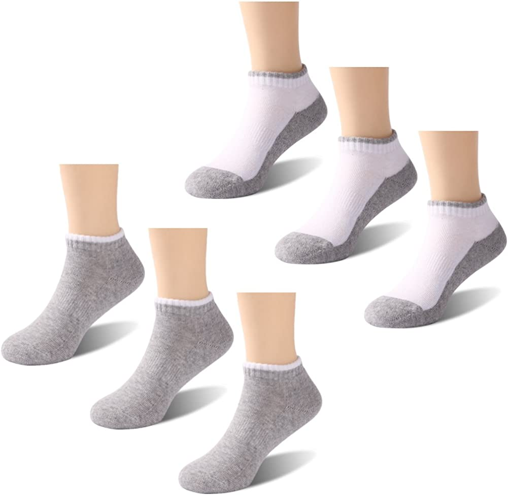 HAPYCEO Unisex Kids Non-skid Cotton Ankle Socks 6 Pack Toddler Socks Athletic