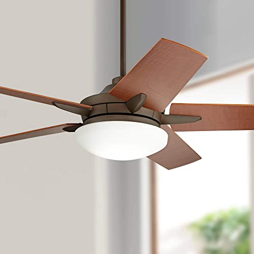 56 Casa Endeavor Modern Ceiling Fan with Light LED Dimmable Remote Control Oil Rubbed Bronze Natural Walnut Veneer Blades for Living Room Kitchen Bedroom Family Dining – Casa Vieja