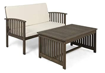 Stupendous Patio Furniture Set Safira Outdoor Solid Wood 2 Piece Sofa Home Interior And Landscaping Mentranervesignezvosmurscom