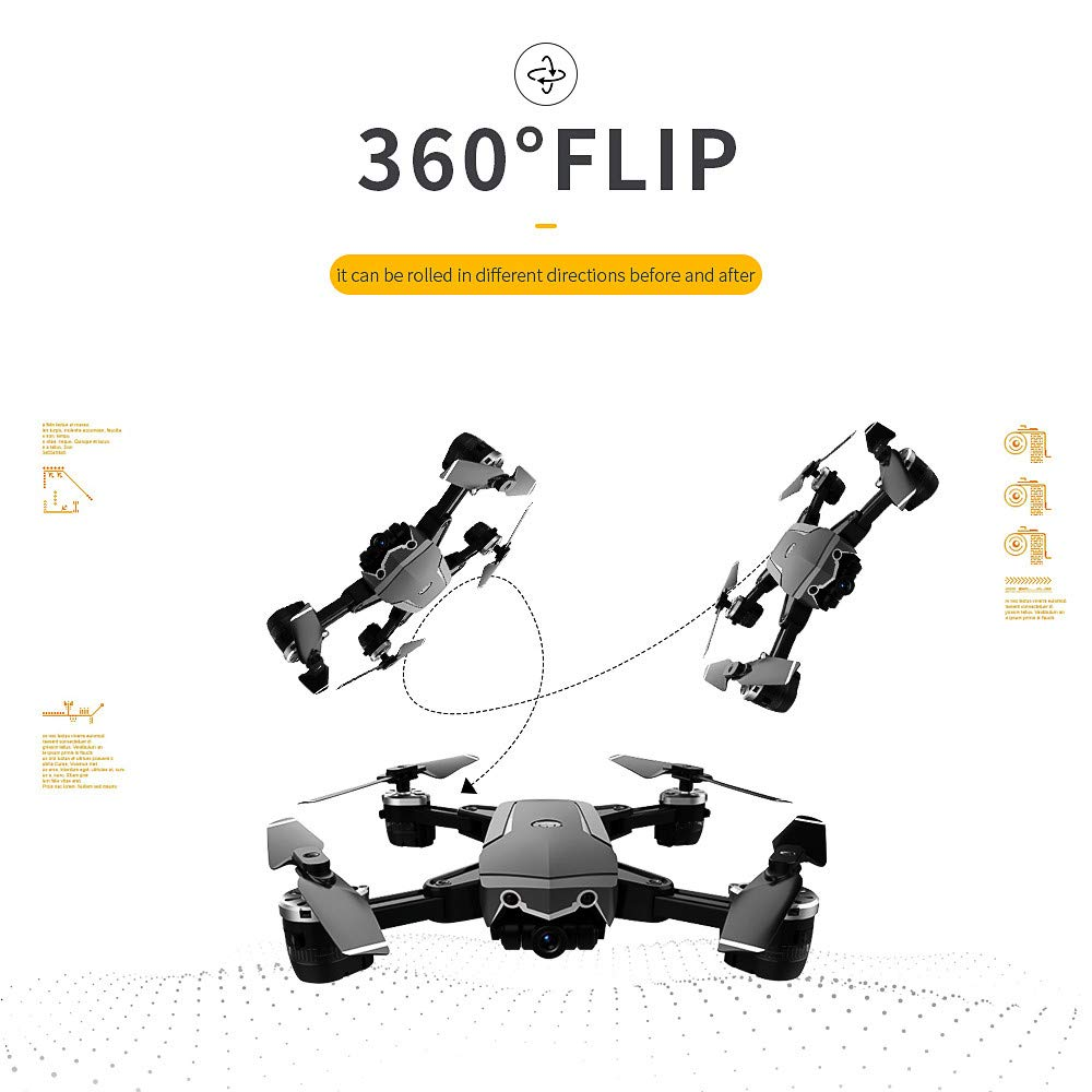 Choosebuy 360 Degree Roll RC Drone with HD Camera, 0.3/2MP Wide Angle Camera FPV 2.4G/One Key Return/WiFi Control/Foldable Quadcopter/Outdoor Toy Gift for Beginners for Adults (A) by Choosebuy (Image #3)