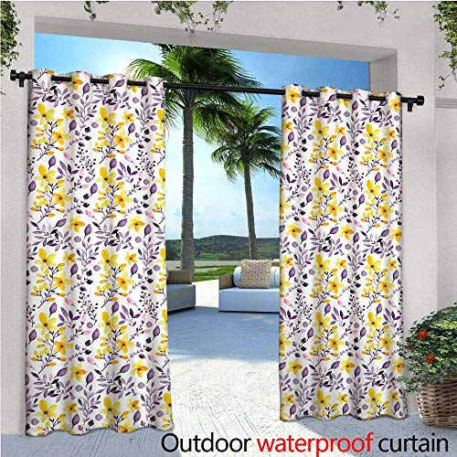 Watercolor Outdoor Privacy Curtain for Pergola Yellow Wildflowers Artistic Spring Garden Botanical Foliage with Herbs Thermal Insulated Water Repellent Drape for Balcony W108