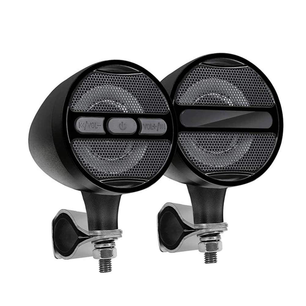 3'' Aluminum Waterproof Bluetooth Motorcycle Stereo Speakers, 12V Handlebar Mount Music Player Audio Amp System with USB Read&Charge,FM Radio, Bluetooth Amplifier