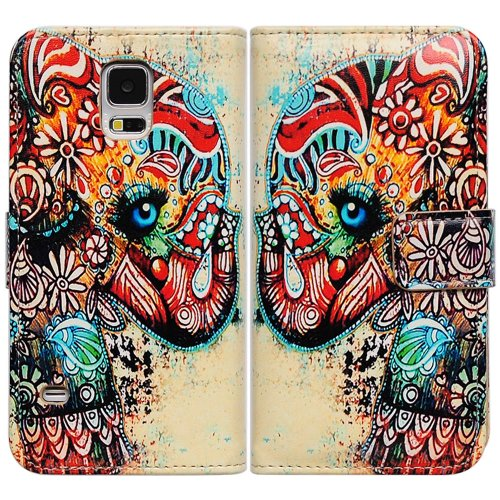 Bfun Packing Tribal Floral Elephant Wallet Leather Cover Case for Samsung Galaxy S5 (Purse Case For Samsung Galaxy S5)