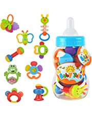 WISHTIME Rattle Teether Baby Toys - Baby 9pcs Shake and GRAP Baby Hand Development Rattle Toys for Newborn Infant with Giant Bottle Gift for 3 6 9 12 18Month