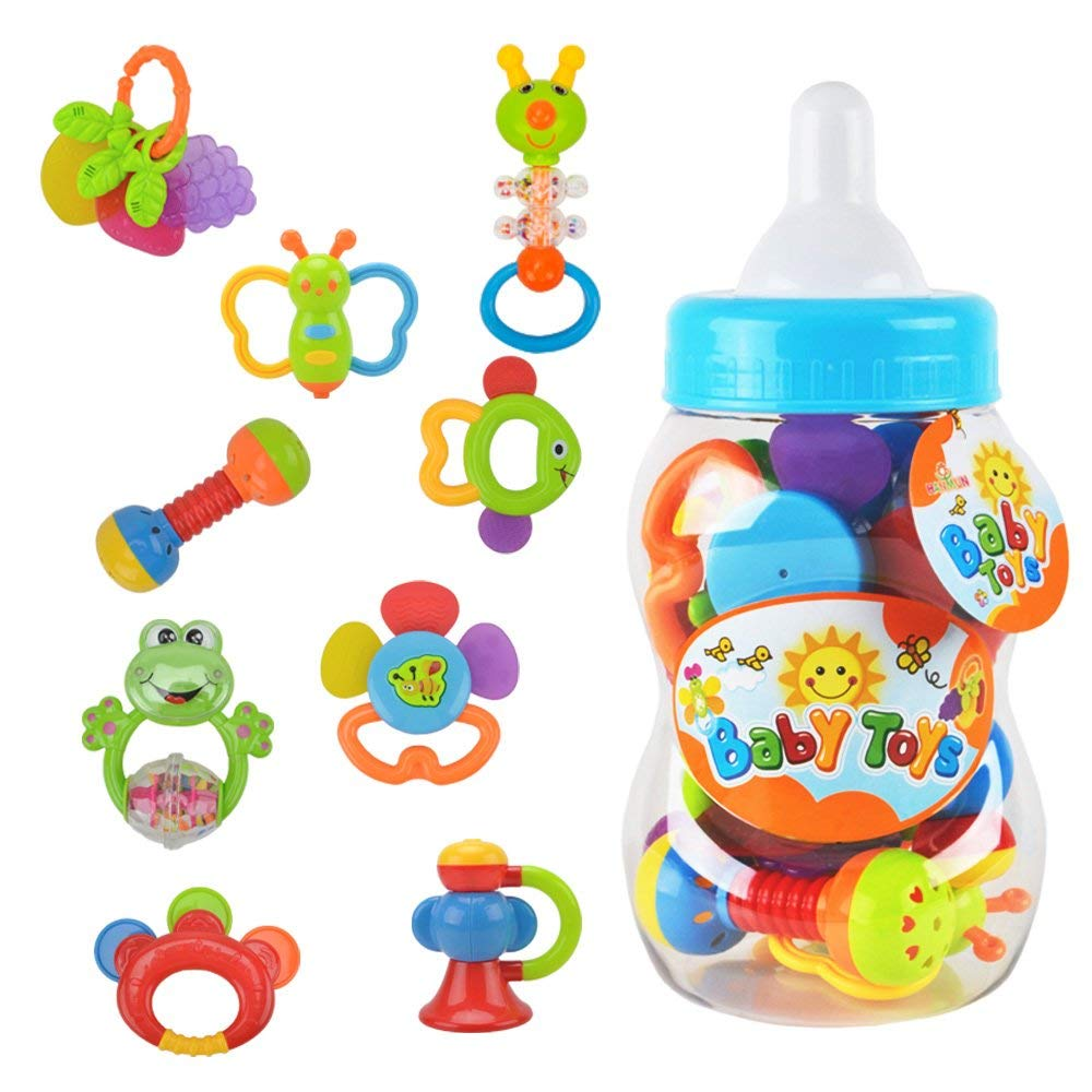 Learn & Fun Rattle Teether Baby Toys - Baby 9pcs Shake and GRAP Baby Hand Development Rattle Toys for Newborn Infant with Giant Bottle Gift for 3 6 9 12 18Month