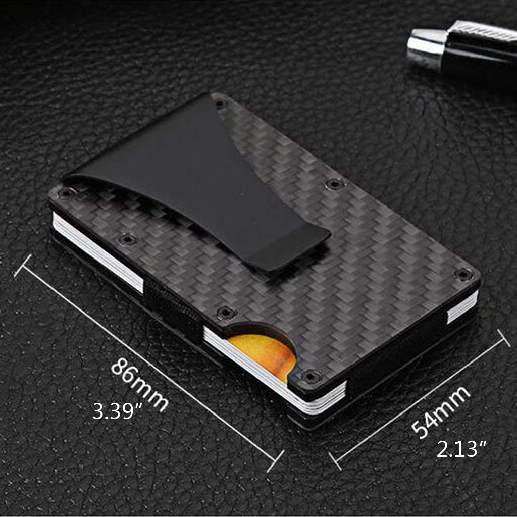 niumanery Men Minimalist Carbon Fiber Credit Card Wallet Money Clip RFID Slim Card Holders