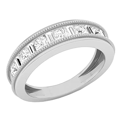 9c5b3fda2d852 Dazzlingrock Collection 1.00 Carat (ctw) 10K Gold Baguette & Round ...