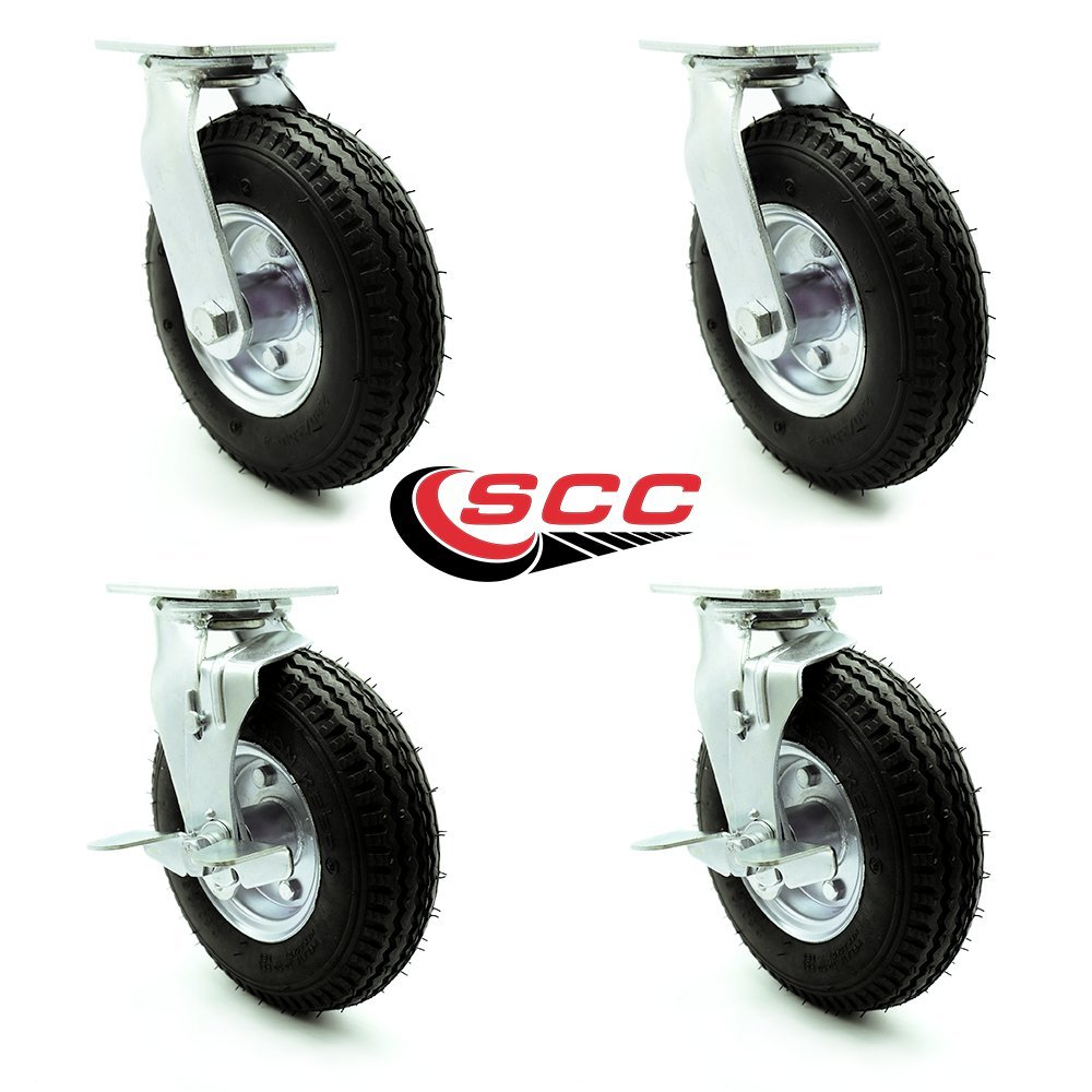 8'' Pneumatic Caster Set of 4-2 Swivel with Brakes/2 Swivel - Black Rubber Wheel - 1,200 lbs. Capacity - Service Caster Brand