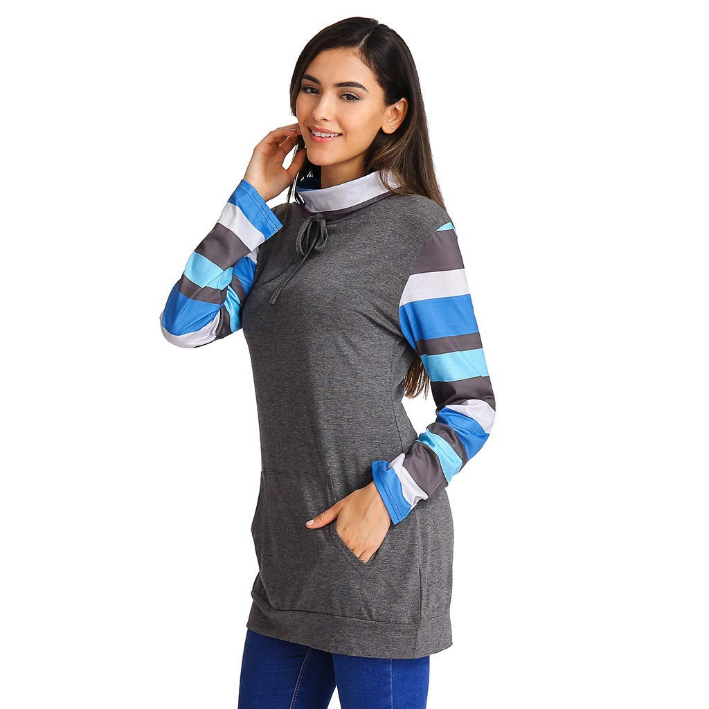 Amazon.com: AOJIAN Blouse Women Long Sleeve T Shirt Turtleneck Stripe Pockets Tunic Tops: Clothing