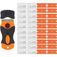 EEFUN Grattoir pour Plaque Vitrocéramique avec Poignée Souple + 20 pièce Lames Plastique et 20 pièce Lames Métallique,Vitres/Miroir/Sol Nettoyage