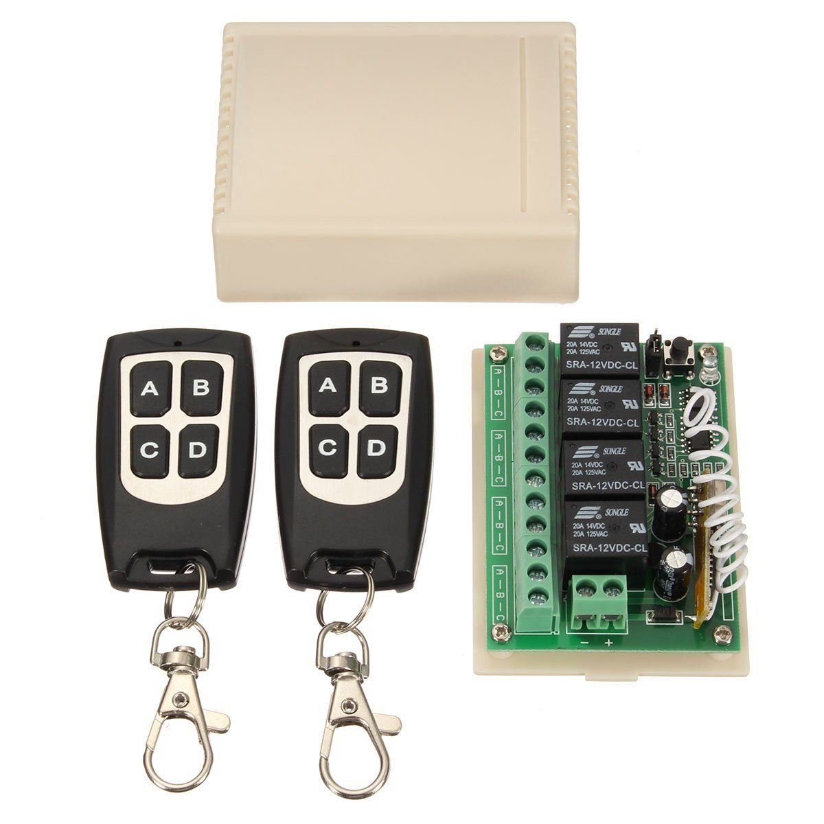 SODIAL 12V 4CH Channel 433Mhz Wireless Remote Control Switch Integrated Circuit With 2 Transmitter DIY Replace Parts Tool Kits