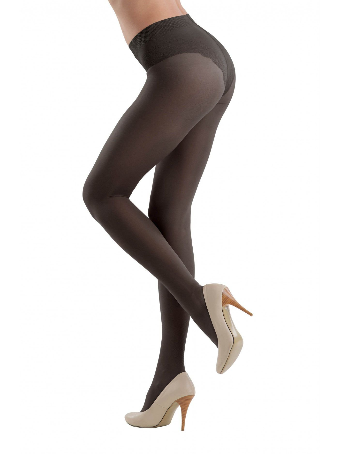 Conte Style Women's 40 Denier Shaping Compression Pantyhose Tights - Black, Small