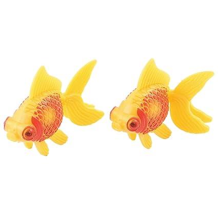 Sourcingmap Plastic Aquarium - Decoración Acuario, Goldfish, 2 piezas, color rojo/naranja