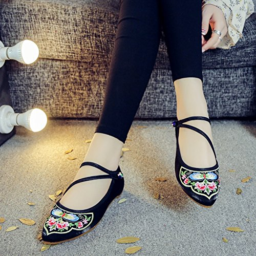 SK Studio Women's Chinese Embroidery Flat Mary Jane Shoes Women Flats Handmade Floral Loafers Low Heel Black Butterfly qTJXv